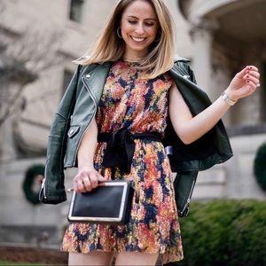Zara sequin mini floral print dress small